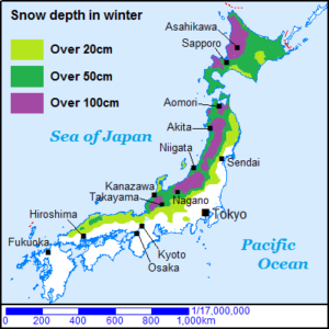 Japan Map snow area of Japan
