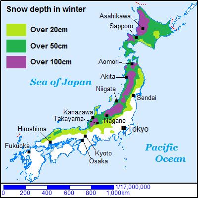 Japan Map snow