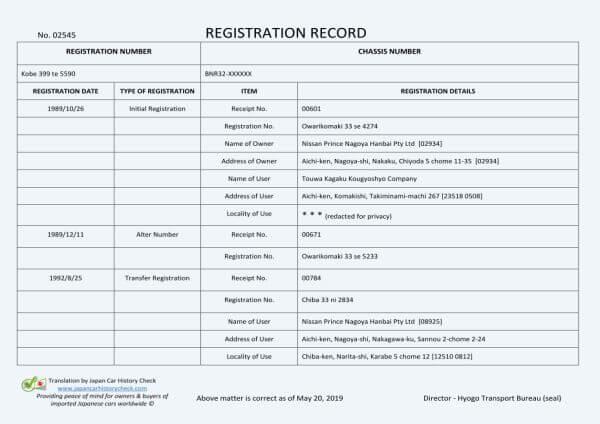 Japanese Registration Certificate translation